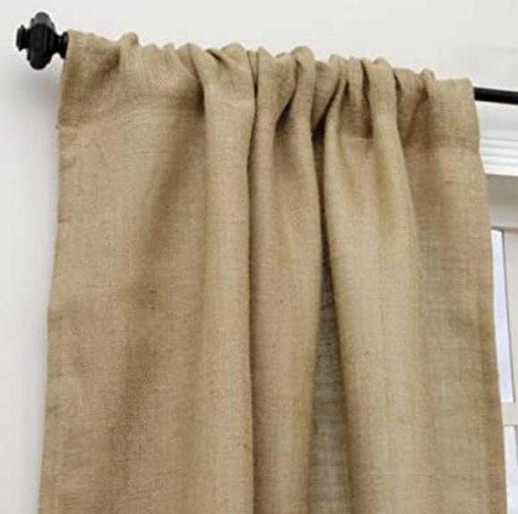 Fennco Styles Passe-Partout Burlap Lined Curtain